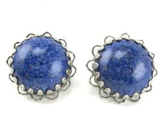 Earrings Blue Lapis Art Glass clip on