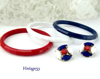Patriotic Bracelets Earrings Red White & Blue Set