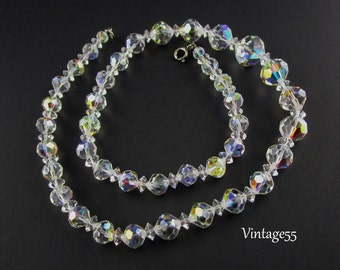Necklace Crystal Beaded Aurora Borealis 20 inch