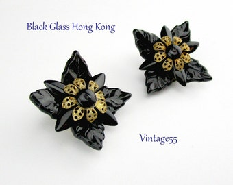 Earrings Black Glass Flower Filigree Hong Kong