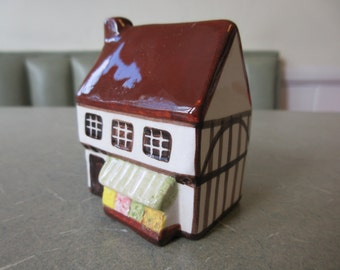 Vintage English Cottage, Ceramic Cottage, Suffolk House, Miniature Cottage, Made in England, Around the Corner, Mini Village, Ceramic House