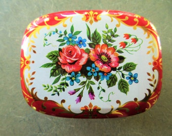 Vintage Tin, Small Lidded Tin, Red and Gold, Floral Tin, Made in England, Small Tin, Hinged Lid, Vintage Storage, English Tin, Flowers Tin