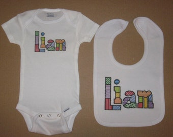 Personalized Bib and Onesie Set