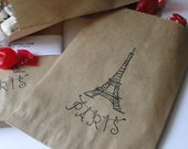 Eiffel tower candy or gift bag - wedding - candy buffet - Party favor - sack - for her - Paris inspired - Set of Ten - Small gift bag