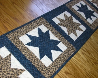 Quilted Table Runner,Navy Blue and Brown Star Runner, 12 x 56 inches runner