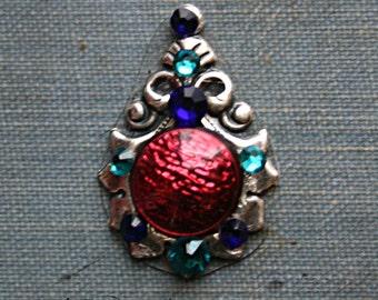 Lotus Tribe Bindi - ATS, Tribal Fusion, Belly Dance, Facial Jewelry, Third Eye, Red, Blue, Rhinestone, Crystal
