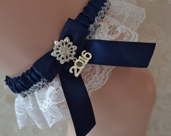 Prom Garter- Navy Blue And White Lace Prom Garter-Lace Prom Garter-Prom Garters-Garter belt-2017 Charm Prom Garter-Garter -Prom