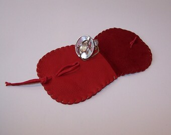 Leather Pendulum Pouch..RED... Smooth