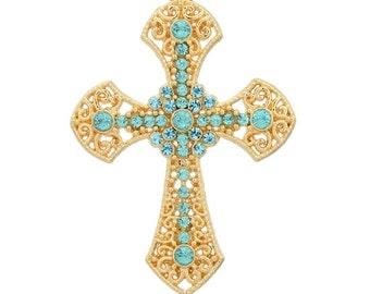 Golden Cross Pendant with Teal Rhinestones - #PND210