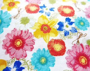 Floral Print Fabric By The Yard - Cotton Fabric - Rainbow Bouquet on White - Half Yard