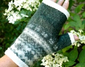 Cashmere and wool fingerless gloves.  Recycled.  Fair Isle in hunter Green and ivory.  Cream ivory lining.
