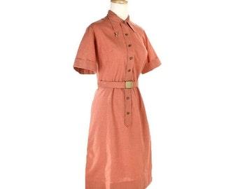 ON SALE 1950s Shirtwaist Dress - Orange Coral Vintage Day Dress - size Medium / Large