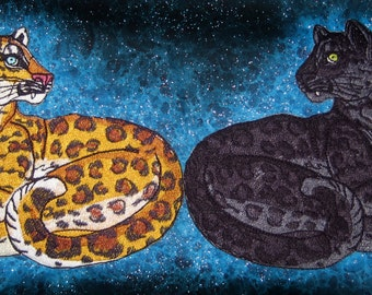 Lovely Black Panther and Gold Leopard Pair Big Cat Iron on Patch