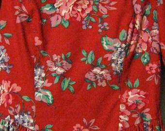 Vintage Laura Ashley Red Floral Summer Dress - Size 8