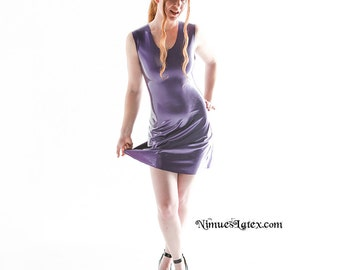 Latex Skate Dress, short and sexy, made to order in a variety of colors and sizes.