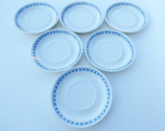 "Set of 6 Saucers: Vintage Figgjo Flint Turi Design ""Lotte"", Coupe Shape, 70s MCM Norway Handpainted Silkscreen Design"