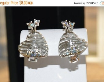 On Sale Pretty Vintage Heart Shaped Clip Earrings, Silver tone, blue rhinestone