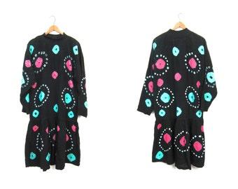 80s Tie Dye Dress Black Drop Waist Boho Dress Rayon Pink Green Mock Neck Hipster Midi Dress Long Sleeves Psychedelic Dress Small Medium