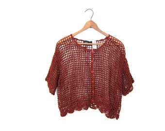 Brown Cut Out Crocet Top Open Knit Sheer Cropped Shirt Button Front Copper Crop Top Loose Fit Tshirt See Through Cami DELLS Small Medium