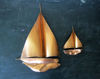 Vintage Copper Metal Sailboat Wall Hanging Retro 70s Nautical Beach Decor Ranch Home Wall Hanging