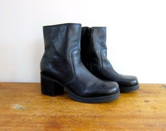 90s Chunky Black Leather Boots Platform High Heel Chelsea Ankle Boots Zip Up Goth Grunge Pebbled Leather Fall Tall Leather Boots Women's 10