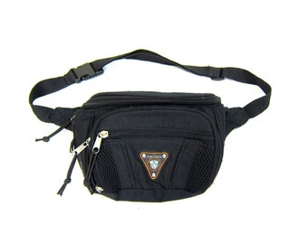 Retro 1980s FANNY PACK Waist Purse Black Hipster Bag High Trails COMPASS Pack Small Hiking Bag Purse Pouch Dells