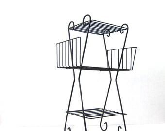 Mid Century Black Metal Shelf Vintage Black Metal Wire Shelf, Retro Plant Stand Book Shelf Home Decor