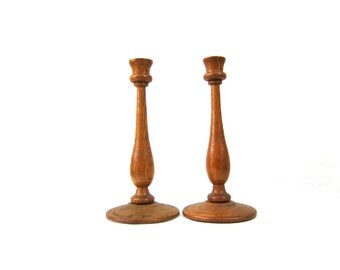 Vintage Wood Candle Holders Candlesticks Pair of 2 Two Home Decor