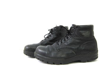 Black Combat Ankle Boots Leather Chunky Grunge 90s Lace Up Distressed Army Boots Steel Toes Work Shoes Men's Size 9.5