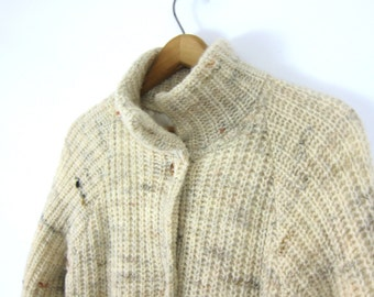 Natural Off White WOOL chunky knit sweater coat 80s thick blanket cocoon cardigan sweater Jacket Women's Size Medium