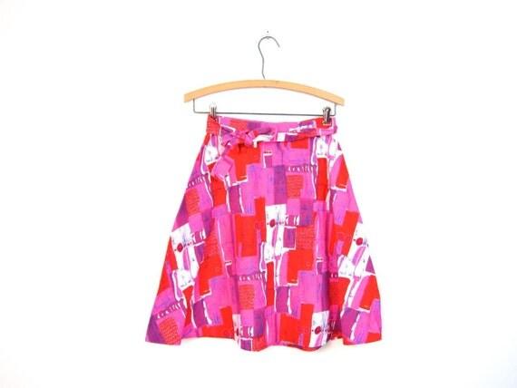 60s 70s Mod Skirt Retro Wrap Skirt Pink Orange Purple BARKCLOTH Cotton Skirt 1960s Modern Artsy Boho Miniskirt Womens Small