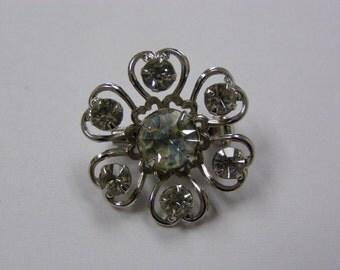 Rhinestones and Hearts Brooch Pin Silverplate Broach