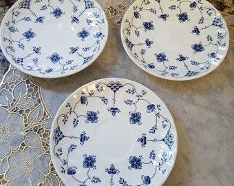 Saucers Set of 3 Georgian Design Churchill Finlandia made in England with  Blue Flowers  on SaLe Now