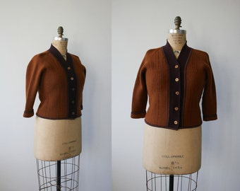 vintage 1950s sweater / 50s brown cardigan, 50s collegiate sweater / cropped sweater / size L large