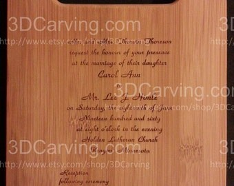 Wedding Invite scanned and Laser engraved on a Bamboo Cutting Board from 3dcarving - Personalized  11 x 8.5