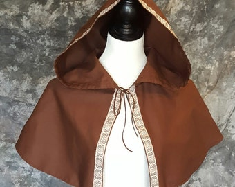 Brown Hooded Caplet With Embroidered Trim, Renaissance Costume, Medieval, Fantasy, Elf, Period Garb, SCA LARP