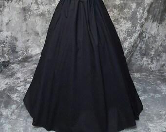 Renaissance Skirt - Civil War, Pirate, Medieval Costume, Long Layering Skirt - Black - Steampunk, SCA, LARP