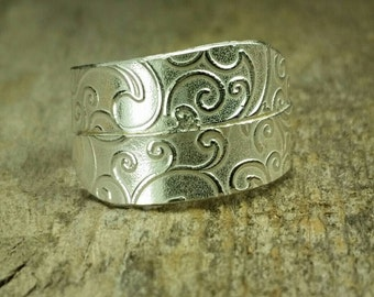 Designer sterling silver band women's rings, ladies room, lost paisley design, size 9.75, ready to ship