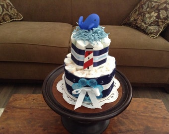 Ahoy it's a Boy nautical Anchor whale Diaper Cake Baby Shower Centerpiece other colors too