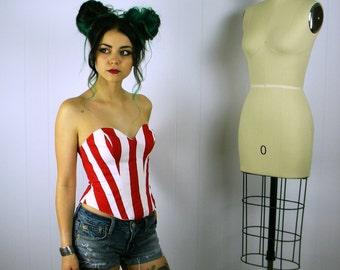 Red Striped Bustier, Striped Bustier, Red Stripe Corset, Striped Bustier Top, Corset Top, Womens Costume