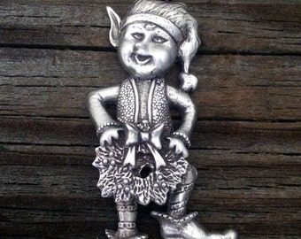 Santa's Elf Christmas Ornament Elf Decoration by Treasure Cast Pewter