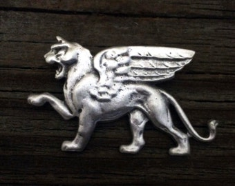 Winged Lion of Venice Pewter Brooch