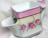 Antique Shaving Mug Scuttle Pink Roses with Brush Rest Fine Decor of the 1900s for the Gentleman Men Skuttle shape Mens Gift from Germany