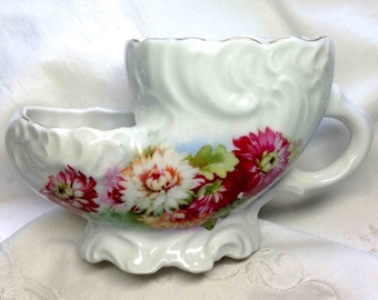 Antique Shaving Mug Scuttle Pink Burgundy Mums Fine Decor from 1900s a Victorian gift for the Gentleman Man Men in Skuttle shape Dad Father