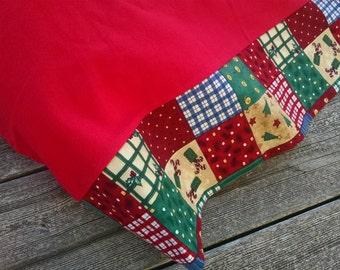 Country Plaid Holiday Pillowcase Christmas Flannel cotton standard pillowcase Holiday cotton bedding handmade in USA Christmas room decor