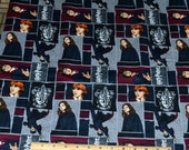 HARRY POTTER FABRIC! By The Half Yard / Ron Weasley - Hermione Granger - Gryffindor Crest! Quilting