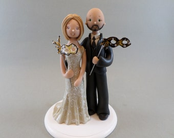Bride & Groom with mardi gras Masks Customized Wedding Cake Topper
