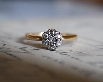 ANTIQUE DIAMOND ENGAGEMENT Art Deco 18k gold vintage flower cluster ring .25 ctw size 7.25 circa 1920a