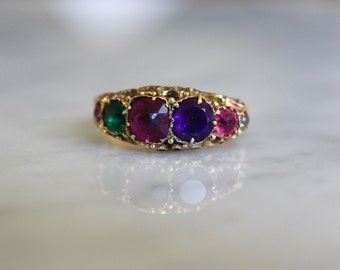 ANTIQUE VICTORIAN REGARD English 9k gold paste and amethyst acrostic vintage love ring circa 1872 size 6.75