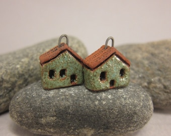 READY TO SHIP...Speckled Green Miniature House Charms in Terracotta...Set of 2